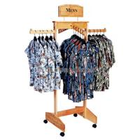 Buy cheap Hanging Clothing Store Fixtures Simple Freestanding Wooden Clothes Rack For Promotion from wholesalers