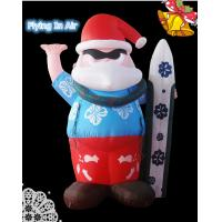 Oxford Blue Pvc Surfing Inflatable Santa Claus for Christmas Decoration