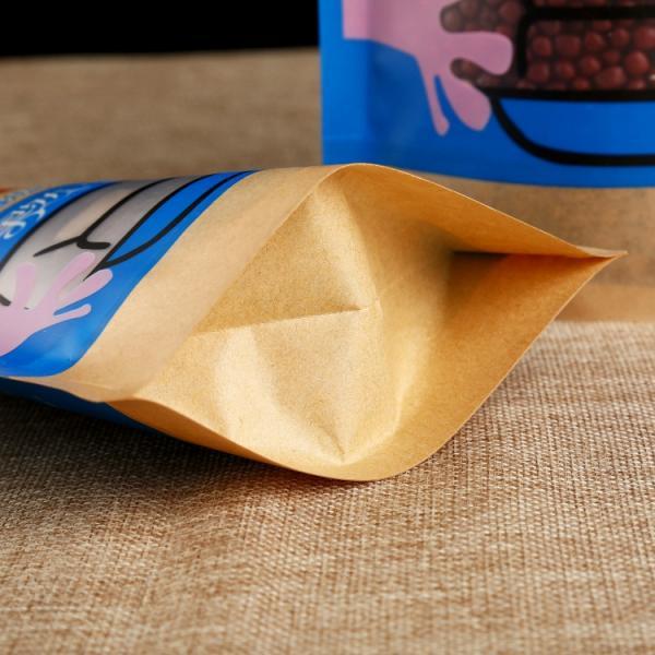 Leak Sealing Kraft Bag : Clear window kraft paper bags heat seal food packaging