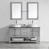 Buy cheap Antique Wooden Marble Top Bathroom Vanity Mirror Cabinet With Glass Door from wholesalers