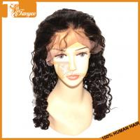 Buy cheap Hot sale virgin human hair 6A deep wave wig with baby hair malaysian virgin hair frontal lace wig wholesale from wholesalers