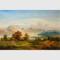 Buy cheap Mountain Landscape Painting, Fall Original Oil Landscape Paintings For Interior Design from wholesalers