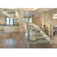 Buy cheap Interior Wrought Iron Curved Wooden Staircase , Floating Wood Stairs Customize Size from wholesalers