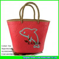 Buy cheap LUDA 2016 popular fish painted palm leaf beach straw shopping bag from wholesalers