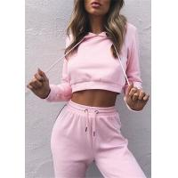 Buy cheap Pink Color Female Hoodie Sweat Suits Premium Quality Cotton Materials from wholesalers