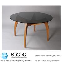 Buy cheap High quality Dark grey round dining table glass top from wholesalers