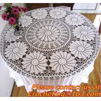 Buy cheap Round Hand Crochet table clothing - table cover - white , for wedding and banquet from wholesalers