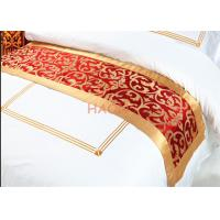 Buy cheap Red Queen Size Bed Runners / Linen Decorative Cloth Strip Pattern from wholesalers