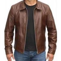 Buy cheap Windproof special and charming brown Fleece Lined Leather jacket for men from wholesalers