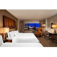 Hotel Room Large Bedroom Walnut wood King size Bed Luxury Nightstand and Marble top Writing Desk with Lounge sofa set