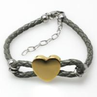 Buy cheap BR496 High Polished Stainless Steel Mesh Bracelet with Hearted Charm from wholesalers