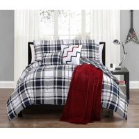Buy cheap 6 Piece Josh Black/White Reversible Comforter w/Throw Blanket Set Full/Queen from wholesalers