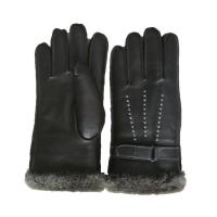 Buy cheap Winter Lamb Fur Lined Mens Soft Leather Gloves With Belt Plain Style from wholesalers
