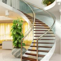 Buy cheap Modern Design Interior curved staircase with tempered glass railing product