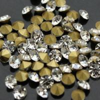 Buy cheap SS1-SS45 Point Back Chatons loose Rhinestones Crystal Clear/White Crystal Color Round Foiled Gold Base Strass Stones from wholesalers
