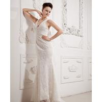 Buy cheap Sexy Summer Lace Fishtail Deep V Neck Wedding Dresses with illusion lace back from wholesalers