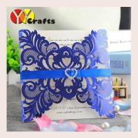 Buy cheap Elegant wedding invitation card metallic blue laser cut crown birthday card from wholesalers