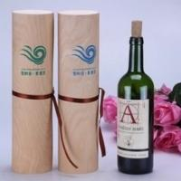 Buy cheap Round tube wine gift box single bottle cylinder birch bark wooden wine box from wholesalers