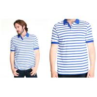 Buy cheap customized 100% cotton mens polo shirt with white and blue stripes from wholesalers