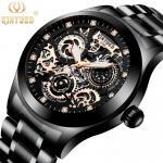 Buy cheap KINYUED J062 oem waterproof custom logo leather fashion tourbillon skeleton wrist watch luxury mechanical watch men wris from wholesalers
