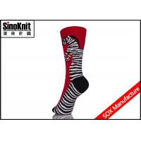 Buy cheap Red Zebra Jacquard Stripe Ladies Fashion Socks , Cotton Womens Dress Socks Wholesale from wholesalers