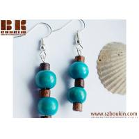 Buy cheap Classic ,Ethnic Blue ,Brown Handmade Drop Ethnic Wood Earrings from wholesalers