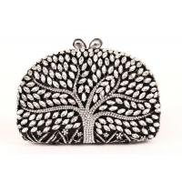 Buy cheap Encrusted Crystal Silver Clutch Evening Bag Large Srorage Space And Pearl Lock from wholesalers