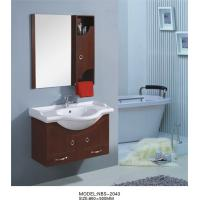 Buy cheap 85 X 50 / cm round type wooden bathroom mirror cabinet light brown Color from wholesalers