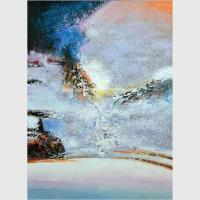 Buy cheap Custom Hand Painted Abstract Landscape Paintings Canvas Wrapped By Plastic Film from wholesalers