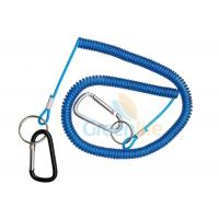 Buy cheap 8 Meter Fishing Rod Lanyard Aluminum Carabiner Blue Flexible Fishing Safety Line Coiled Spring Rope from wholesalers