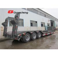 Buy cheap Lowboy gooseneck trailer 3 axle low bed semi trailer  with rail from wholesalers