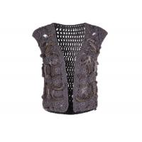 Buy cheap Crochet Knitting Grey Womens Sweater Vest , Sleeveless Womens Fur Vest Short Style from wholesalers