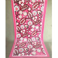 High Dense Promotional Beach Towels / Flowered Bath Towels Pink Long Stalks
