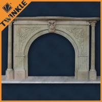 Buy cheap Natural Marble Pillar Stone Fireplace Surround , Grey And Hand-Carved from wholesalers