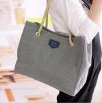 Buy cheap Grey Canvas Handbags European Style , Black Linen Messenger Bags For Women from wholesalers