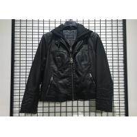 Buy cheap Autumn Black Mens PU Jacket Faux Leather Biker With Detachable Knit Hood from wholesalers