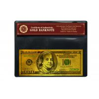 Buy cheap Christmas Craft Colored 100 Dollar 24K Gold Foil Banknote with COA frame from wholesalers