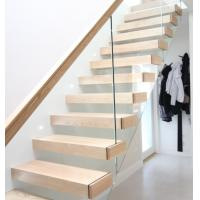 Buy cheap Modern steel stringer staircase wood floating stairs glass railing prices from wholesalers