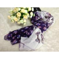 Buy cheap Butterfly Purple Square Voile Scarves Cotton For Spring from wholesalers