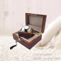 Buy cheap Custom Luxury Wooden Watch Display Watch Gift Box, High Gloss Burlwood Walnut Color, Faux Leather Lined Inner, with Key product