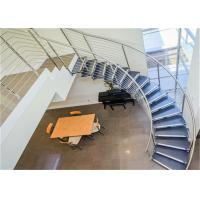 Buy cheap Compact Wood Tread Building Curved Stairs With Standoff Glass Railing from wholesalers