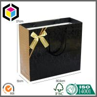 Buy cheap Cotton Handle Matte Black Color Shoes Paper Carrier Bag; Luxury Gift Paper Bag from wholesalers