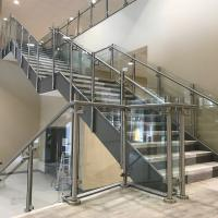 Buy cheap Decking / balcony glass balustrade with mirror finish steel posts product