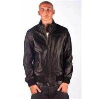Buy cheap 52 XL knitted men's lamb zip closure leather jackets with lay down collar knitting product