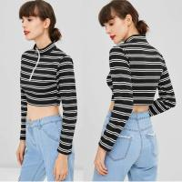 Buy cheap Trendy Women Clothing Stripe Long Sleeve O Ring Zip Crop Tee Top from wholesalers