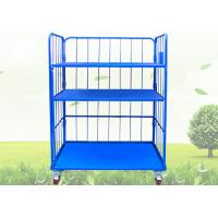 Buy cheap Blue Warehouse Cages On Wheels / Stackable Storage Cages With Shelves from wholesalers