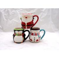 Buy cheap Covered Ceramic Christmas Coffee Mugs , Snowman Coffee Cups With Cap Lid / Scarf from wholesalers
