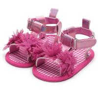 Buy cheap Hot sale 2019 PU leather upper pink lace flower 0-2 years girl summer outdoor toddler sandals from wholesalers