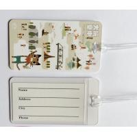 Buy cheap Custom Full Color Print White Plastic Luggage Tags Travel Name Tag With Transparent String, Cheap Factory Price from wholesalers