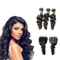 Buy cheap Free Line Part Brazilian 100% Human Hair Extensions / Loose Wave Virgin Hair from wholesalers